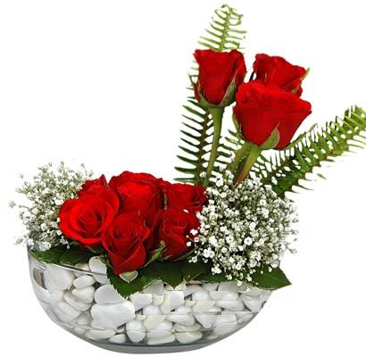 cam içerisinde 9 adet kirmizi gül  Bitlis çiçek siparişi vermek