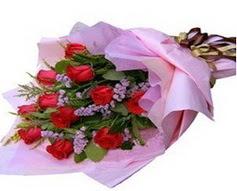 11 adet kirmizi güllerden görsel buket  Bitlis çiçek gönderme sitemiz güvenlidir