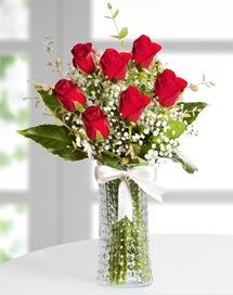 Cam vazoda 7 adet kırmızı gül  Bitlis çiçek , çiçekçi , çiçekçilik