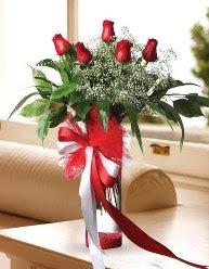 Camda 5 kırmızı gül tanzimi  Bitlis çiçekçi telefonları