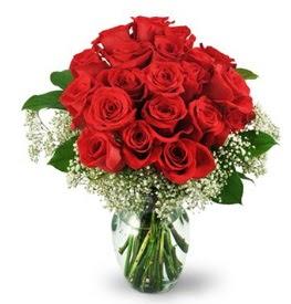 25 adet kırmızı gül cam vazoda  Bitlis çiçek , çiçekçi , çiçekçilik