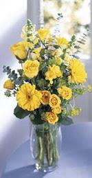 Bitlis online çiçek gönderme sipariş  sari güller ve gerbera cam yada mika vazo