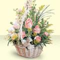 Bitlis 14 şubat sevgililer günü çiçek  sepette pembe güller