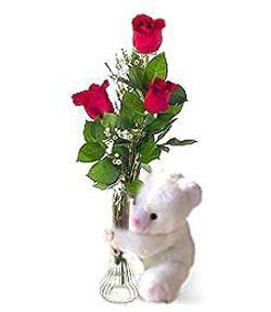 oyuncak ve 3 adet gül  Bitlis çiçek siparişi sitesi