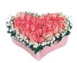 kalp içerisinde 9 adet pembe gül  Bitlis çiçek satışı