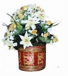 yapay karisik çiçek sepeti   Bitlis cicekciler , cicek siparisi