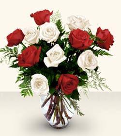 Bitlis uluslararası çiçek gönderme  6 adet kirmizi 6 adet beyaz gül cam içerisinde