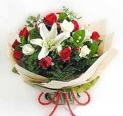 güller ve kazablanklardan görsel bir buket  Bitlis internetten çiçek satışı