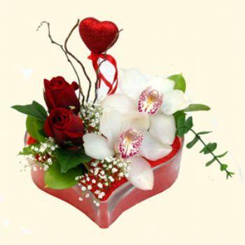 Bitlis hediye sevgilime hediye çiçek  1 kandil orkide 5 adet kirmizi gül mika kalp
