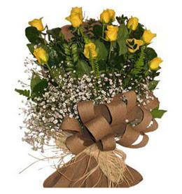 Bitlis çiçek yolla  9 adet sari gül buketi