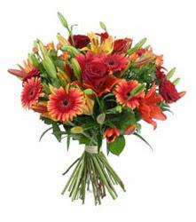 Bitlis çiçek gönderme  3 adet kirmizi gül ve karisik kir çiçekleri demeti
