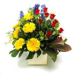 Bitlis online çiçek gönderme sipariş  9 adet gül ve kir çiçekleri cam yada mika vazoda