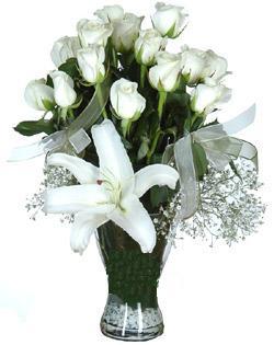 cam içerisinde 11 beyaz gül ve 1 kazablanka  Bitlis çiçek siparişi sitesi