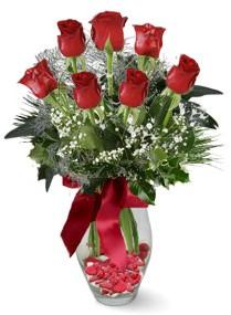 7 adet vazoda gül  Bitlis internetten çiçek satışı  kirmizi gül