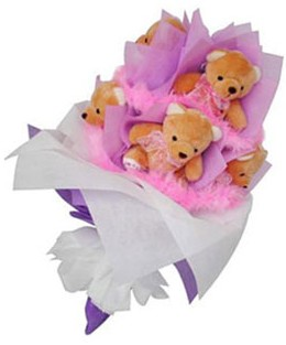 9 adet ayiciktan buket  Bitlis hediye sevgilime hediye çiçek