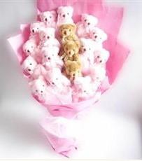 17 adet pelus ayicik buketi  Bitlis İnternetten çiçek siparişi