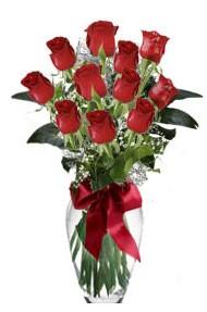 11 adet kirmizi gül vazo mika vazo içinde  Bitlis 14 şubat sevgililer günü çiçek