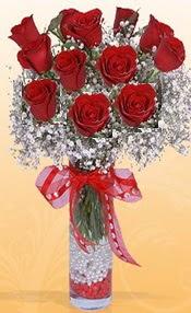 10 adet kirmizi gülden vazo tanzimi  Bitlis çiçek siparişi sitesi