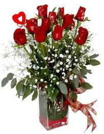 Bitlis çiçek siparişi vermek  9 adet mika yada cam vazoda gül tanzimi kalp çubuk