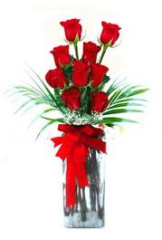 Bitlis çiçekçi telefonları  9 adet mika yada cam vazoda gül tanzimi