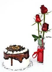 Bitlis çiçek siparişi vermek  vazoda 3 adet kirmizi gül ve yaspasta