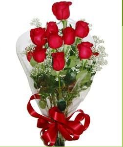 Bitlis uluslararası çiçek gönderme  10 adet kırmızı gülden görsel buket