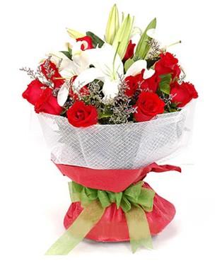 Bitlis hediye çiçek yolla  1 dal kazablanka 11 adet kırmızı gül buketi