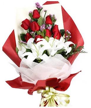 Bitlis çiçekçiler  1 dal kazablankaa 9 adet kırmızı gül buketi