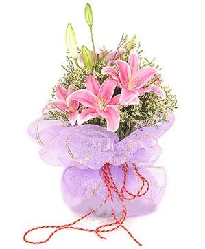 3 dal kazablanka görsel buketi  Bitlis internetten çiçek satışı