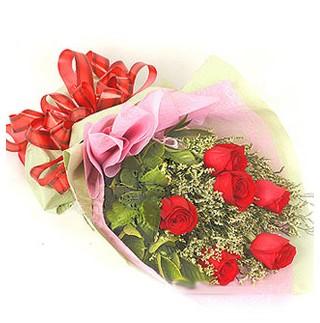 Bitlis çiçek , çiçekçi , çiçekçilik  6 adet kırmızı gülden buket
