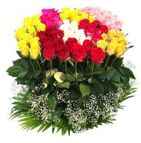 Bitlis çiçek mağazası , çiçekçi adresleri  51 adet renkli güllerden aranjman tanzimi