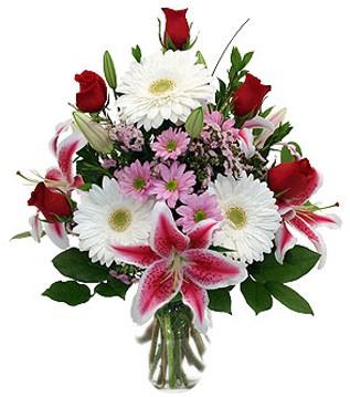 Bitlis çiçek mağazası , çiçekçi adresleri  1 dal kazablanka 5 gül ve kırçiçeği vazosu