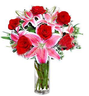 Bitlis çiçek yolla  1 dal cazablanca ve 6 kırmızı gül çiçeği