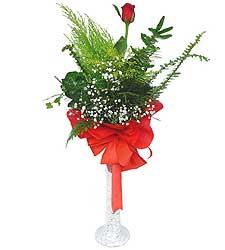 Bitlis anneler günü çiçek yolla  Cam vazoda masum tek gül