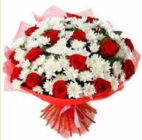 11 adet kırmızı gül ve beyaz kır çiçeği  Bitlis internetten çiçek satışı