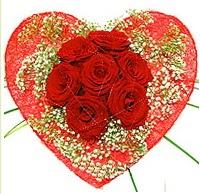 Mika kalp içerisinde 7 adet kırmızı gül  Bitlis çiçekçi mağazası