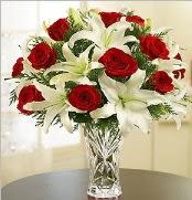 12 adet kırmızı gül 2 dal kazablanka vazosu  Bitlis çiçek satışı