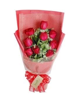 9 adet kırmızı gülden görsel buket  Bitlis ucuz çiçek gönder