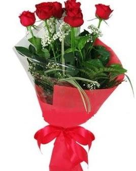 5 adet kırmızı gülden buket  Bitlis kaliteli taze ve ucuz çiçekler
