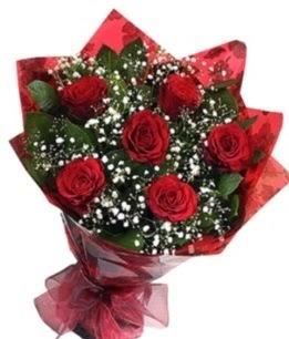 6 adet kırmızı gülden buket  Bitlis yurtiçi ve yurtdışı çiçek siparişi