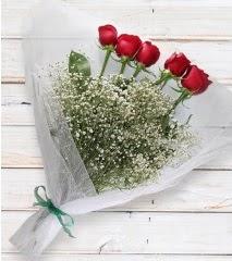 5 kırmızı gülden sade buket  Bitlis çiçek yolla