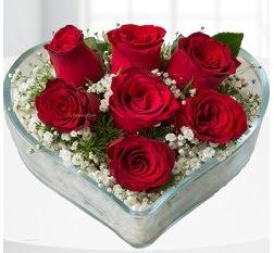 Kalp içerisinde 7 adet kırmızı gül  Bitlis çiçek servisi , çiçekçi adresleri