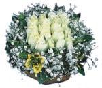 Bitlis çiçekçiler  Beyaz harika bir gül sepeti