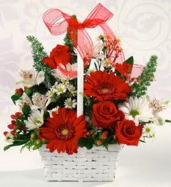 Karışık rengarenk mevsim çiçek sepeti  Bitlis internetten çiçek siparişi