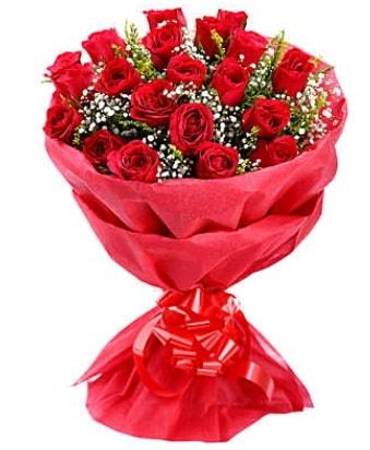 21 adet kırmızı gülden modern buket  Bitlis çiçek gönderme
