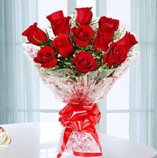 11 adet kırmızı gülden görsel şık buket  Bitlis ucuz çiçek gönder