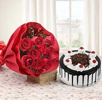 12 adet kırmızı gül 4 kişilik yaş pasta  Bitlis çiçek , çiçekçi , çiçekçilik