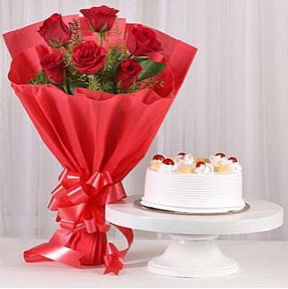 6 Kırmızı gül ve 4 kişilik yaş pasta  Bitlis çiçek , çiçekçi , çiçekçilik