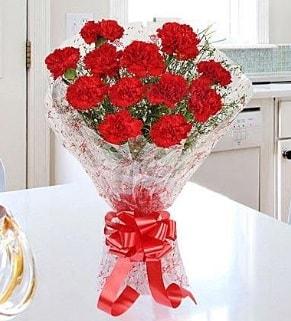 12 adet kırmızı karanfil buketi  Bitlis İnternetten çiçek siparişi