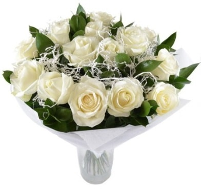 15 beyaz gül buketi sade aşk  Bitlis çiçek satışı